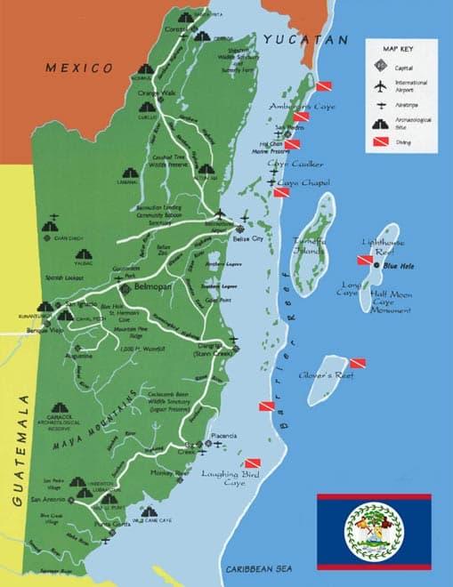 belize shuttle map
