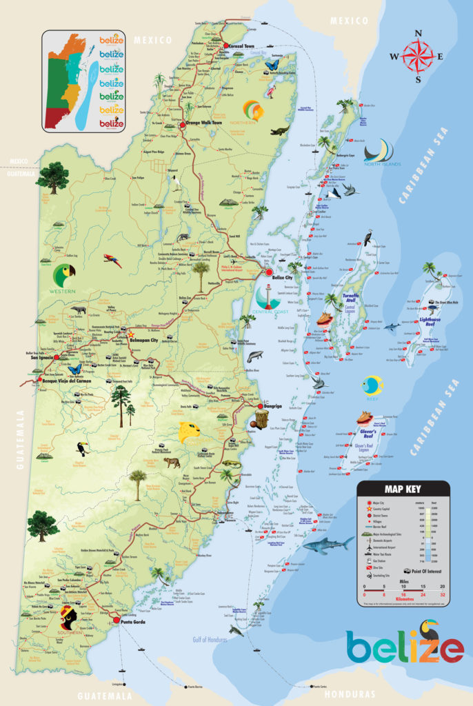 map of things to do in belize and major highways