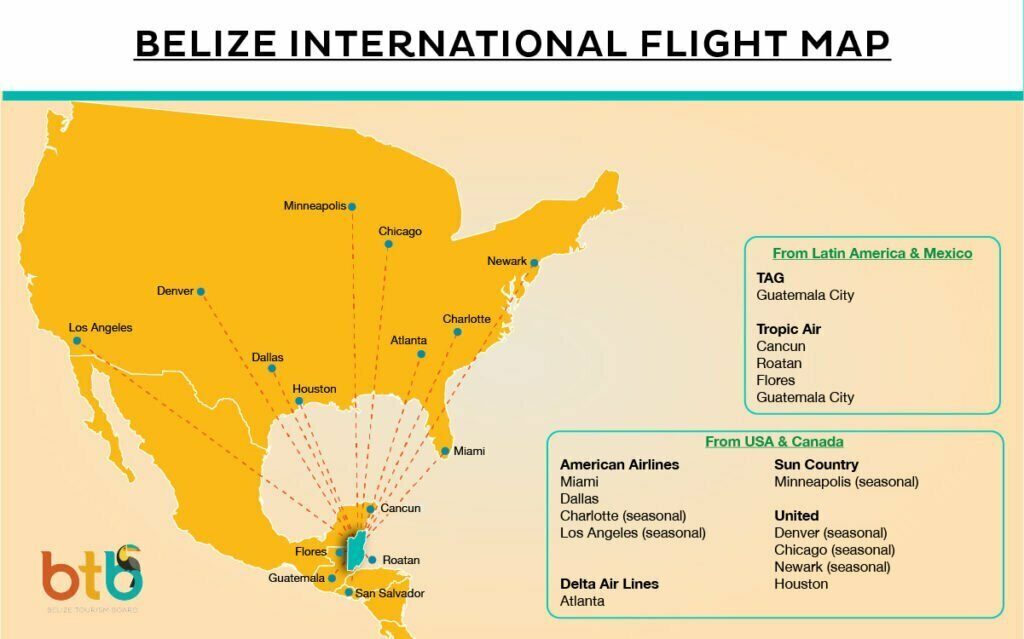 belize location and US flight on a maps